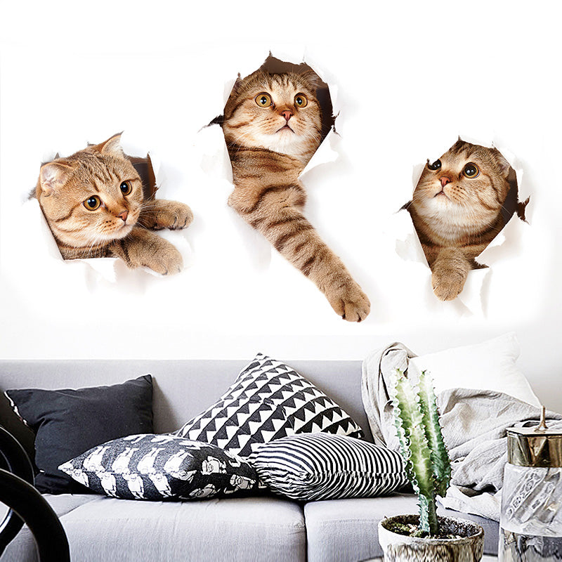 Cat Vinyl Waterproof 3D Wall Sticker Decal Home Decor for Bathroom, Toilet, Living Room, Etc. - boopetclub