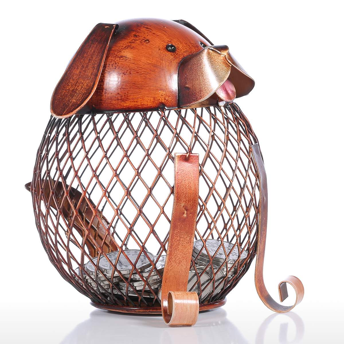 Metal Dog Puppy Coin Bank, Money Piggy Bank, Metal Coin Bank Home Decor - boopetclub
