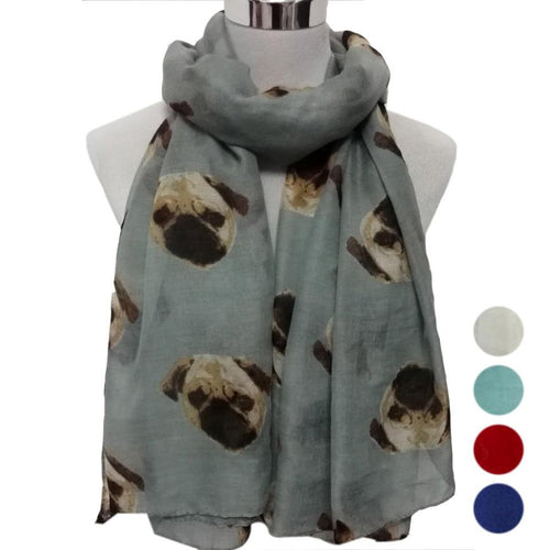 Pug Dog Scarf, Soft Scarves - boopetclub