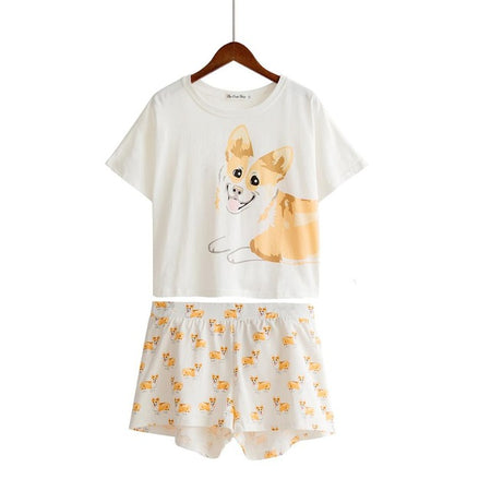 Corgi Pattern Dog Women Pajamas (Top & Shorts)