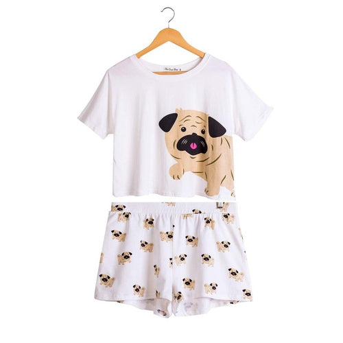 Pug Dog Women Pajamas (Top & Shorts) - boopetclub