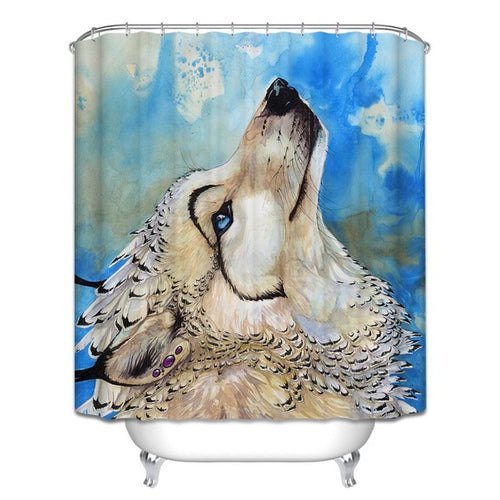 Wolf Shower Curtain, Dog Bathroom Decor