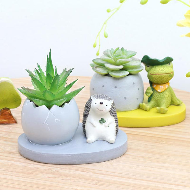 1 Piece Animal Resin Mini Plant Flower Pot Home Decor - Bear Dog Lion Pig Frog Hedgehog - boopetclub