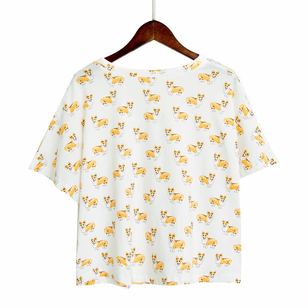 Corgi Pattern Dog Women Pajamas (Top & Shorts) - boopetclub