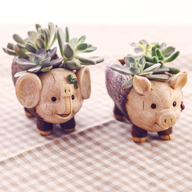 Pig Animal Resin Plant Flower Pot Home Decor - Wood Design - boopetclub