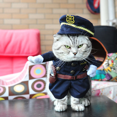 Police Uniform Pet Costume, Dog and Cat Clothes, Dog Halloween Costume - boopetclub