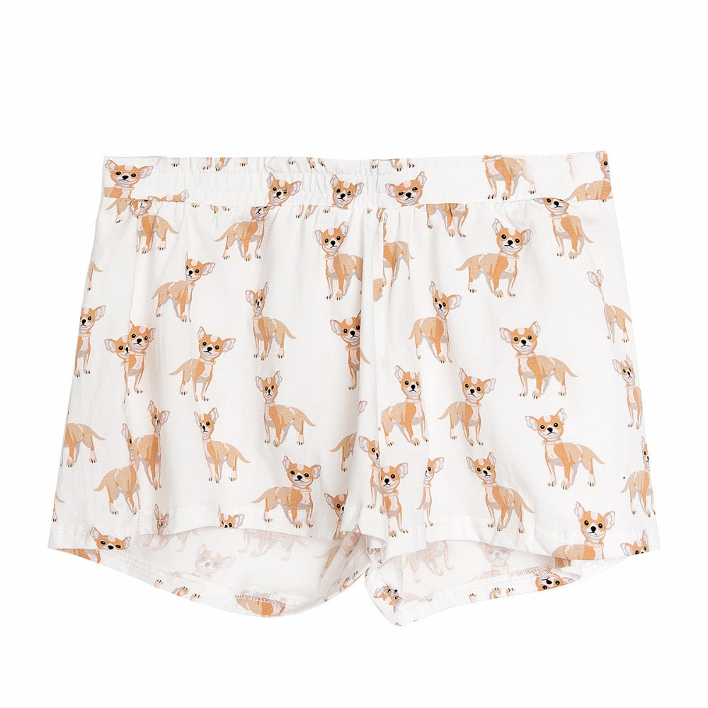 Chihuahua Pattern Dog Women Pajamas (Top & Shorts) - boopetclub