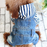 Denim Stripe Dog Jumpsuit, Jean Dog and Cat Clothes - boopetclub