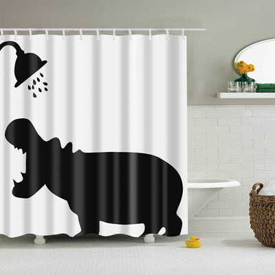 Hippopotamus Shower Curtain, Animal Bathroom Decor - boopetclub