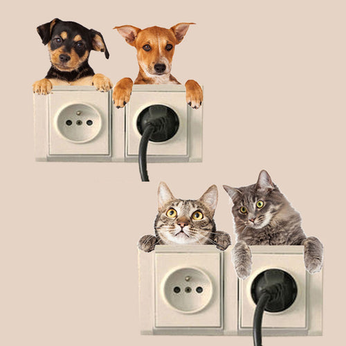 4 Pieces / Set Dog Cat Light Switch Decor Vinyl Wall Sticker, Decal - boopetclub