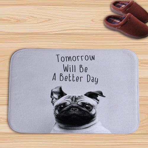 Pug Quote Dog Floor Mat, Front Door Mats - boopetclub
