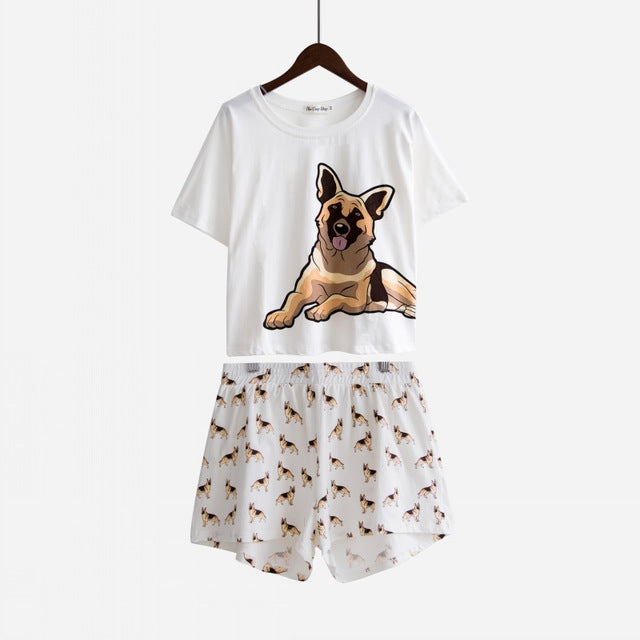 Women Pajama Sets German Shepherd Dog  (Top + Shorts) - boopetclub