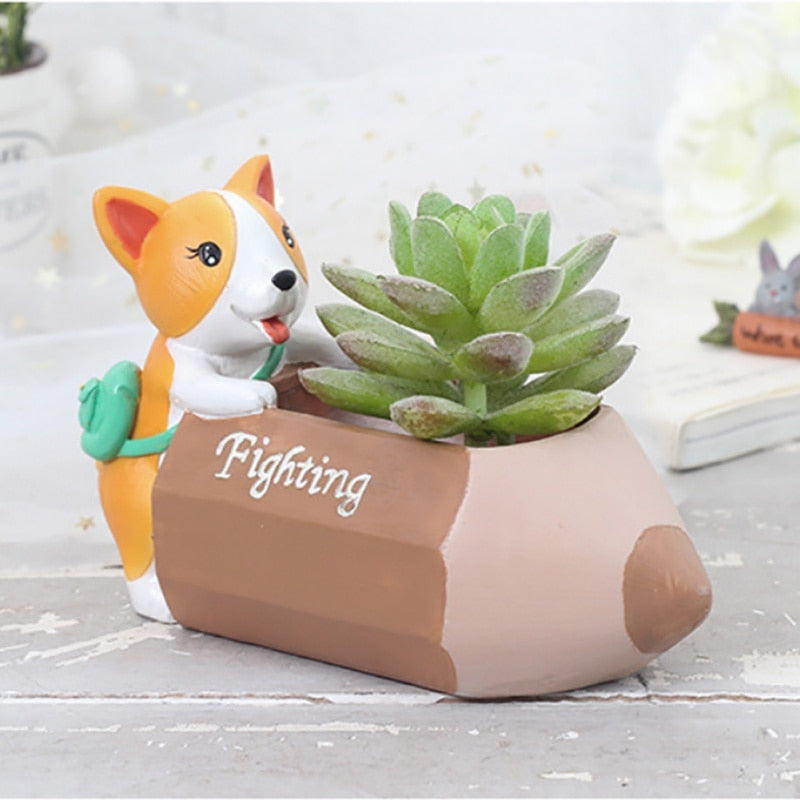 Corgi Resin Flower Pot - boopetclub