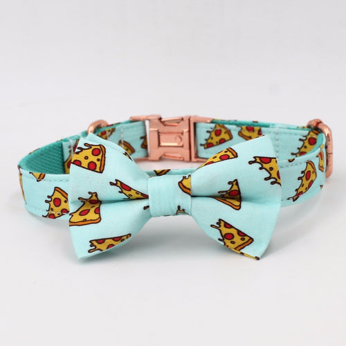 Pizza Dog Collar With Bow Tie/ Pet Leash Set - boopetclub