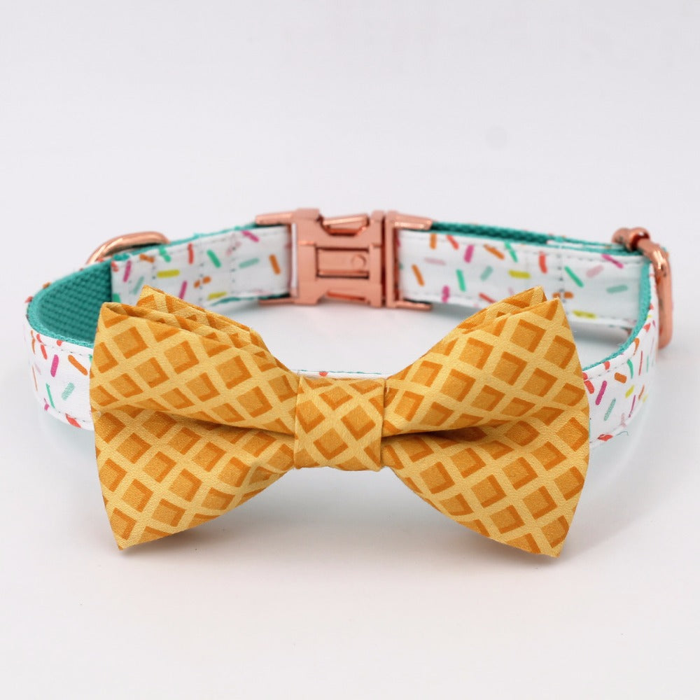 Sprinkles Pattern Dog Collar With Bow Tie/ Pet Leash Set - boopetclub