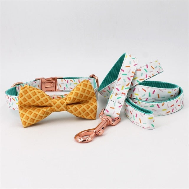 Sprinkles Pattern Dog Collar With Bow Tie/ Pet Leash Set