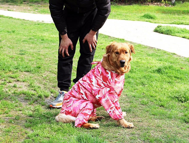 Camouflage Pet Dog Raincoat, Medium Large Dog Clothes Jacket - boopetclub