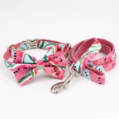 Watermelon Dog Collar With Bow Tie/ Pet Leash Set