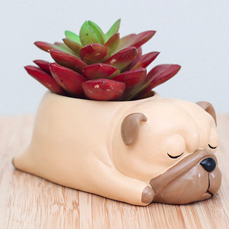 Pug Dog Resin Flower Pot - boopetclub
