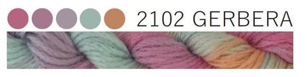 Cottage Garden Threads-CGT-2102 Gerbera-6 Strand Cotton embroidery thread-Hand Dyed Thread-CGT thread hand dyed- online quilting Australia