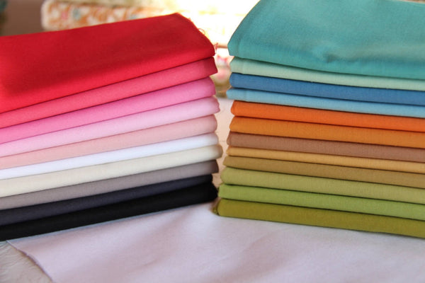 Devonstone Solids Fabric Bundle|12 Fat Quarter Solids|Green,Blue Ginger