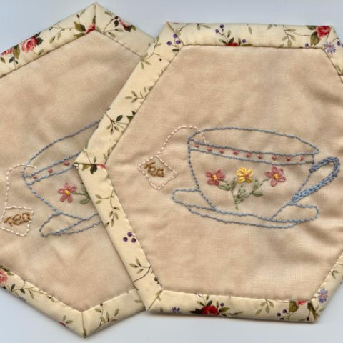 Tea Time Mug Mat Coaster PDF Pattern - Embroidery Pattern
