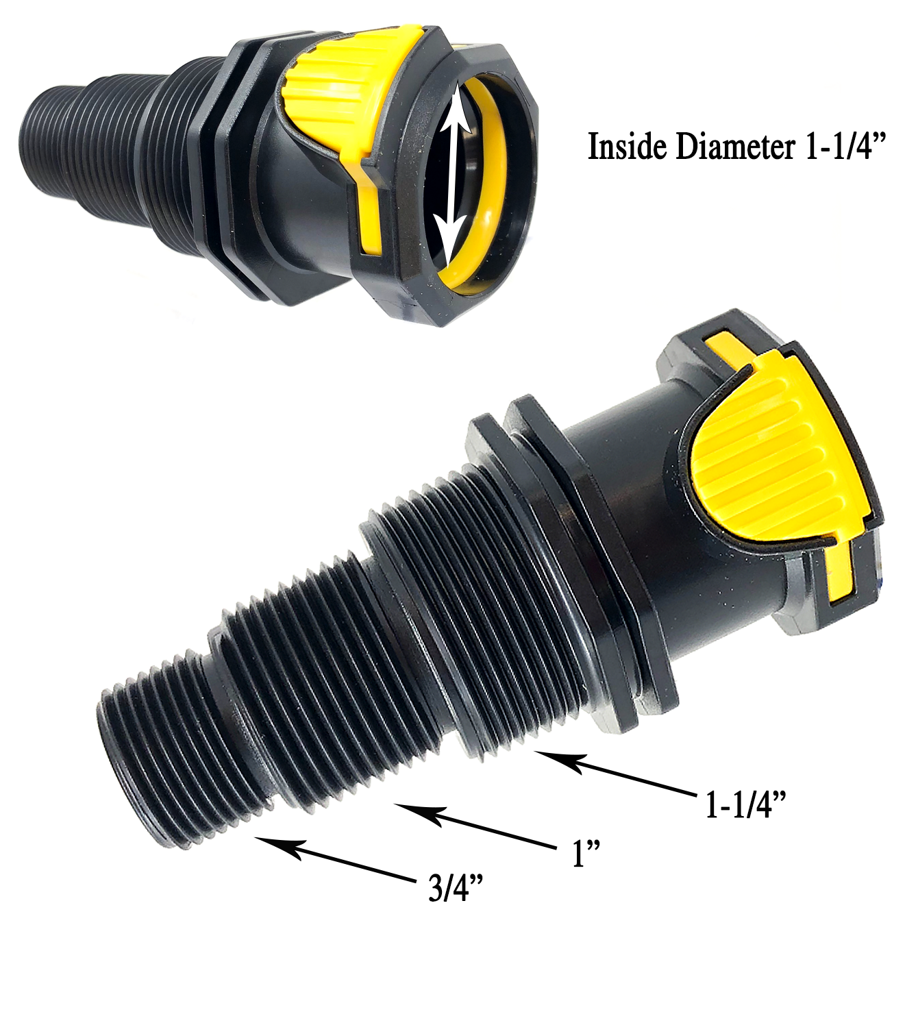 "Laguna Click-Fit 1.25"" w/Univ. 3/4"" 1"" 1.25"" Threaded Male Fitting,PT624 - Pond Supplies 4 Less"