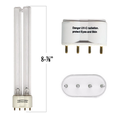 "18 Watt UV Bulb 2G11 4 Prong In Line Base 8 7/8"" Long (22.5 cm) - Pond Supplies 4 Less"