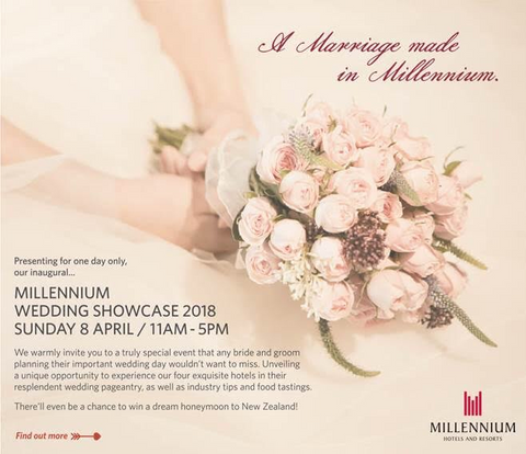 Millennium Wedding Showcase 2018 | 8 April | 11am – 5pm     We warmly invite you to a truly special event that any bride and groom planning their important wedding day wouldn't want to miss! Experience our four exquisite hotels in their resplendent wedding pageantry. Preview stylish wedding themes and delicious culinary fare to sample. Mingle with over twenty bridal partners; who'll be on hand to share tips and current trends – all to inspire you on your big day.   There'll even be a chance to win a dream honeymoon stay to New Zealand, Seoul, Bejing and Kuala Lumpur*! (*T&Cs apply) We'd love you to join us.   Venue: Orchard Hotel, Grand Copthorne Waterfront Hotel, M Hotel & Copthorne King's Hotel (complimentary shuttle bus between hotels) Special offers, for on-day bookings. Public admission: $25 nett per couple, Citibank cardholders: $18 nett per couple   RSVP here