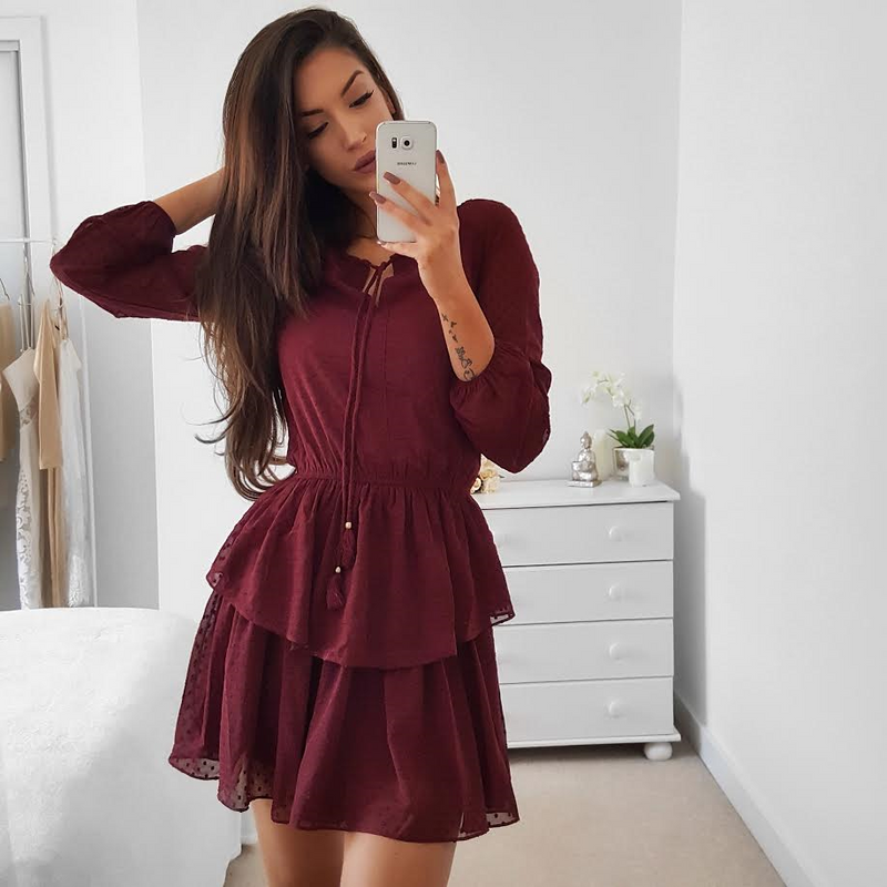 Keona Dress - Burgundy