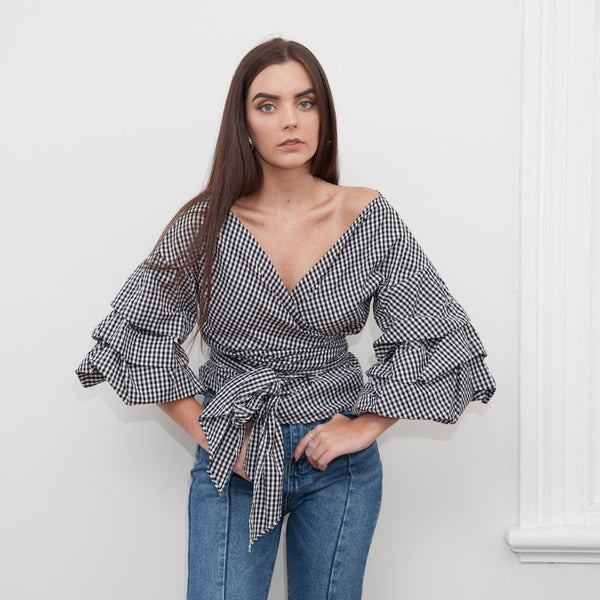 Anoushka Gingham Wrap Top