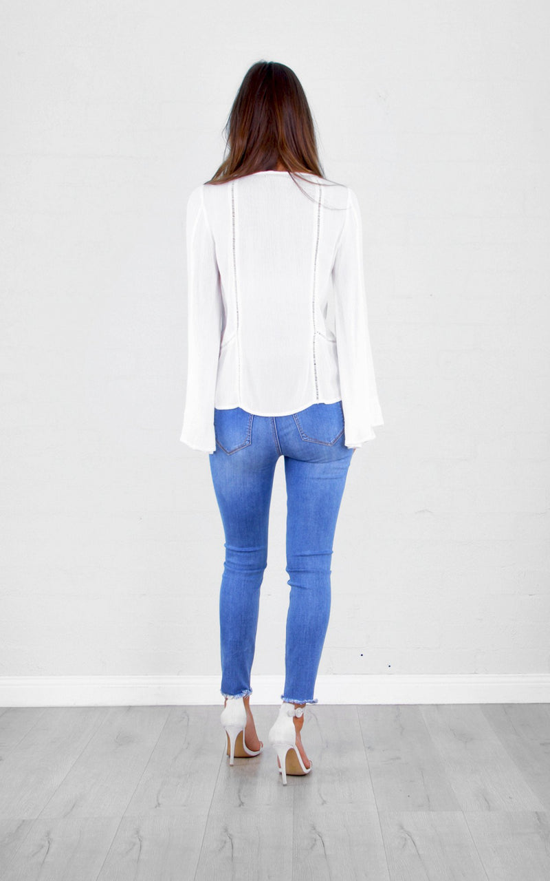 Mac Bell Sleeve Top In White