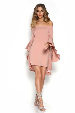 Lily Off-Shoulder Dress In Dusty Pink