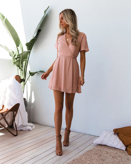 Saskia Embroidery Dress - Dusty Rose