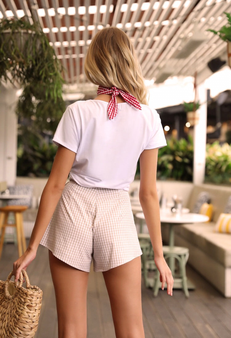 Paris Shorts - Stone Gingham