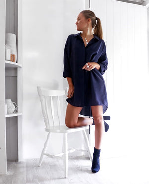 Selena Mini Shirt Dress In Navy