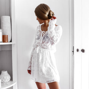 Lover Mini Lace Dress - White