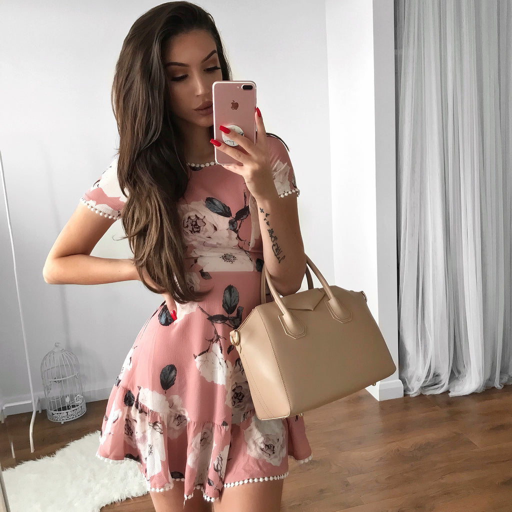 Kara Floral Dress - Dusty Rose