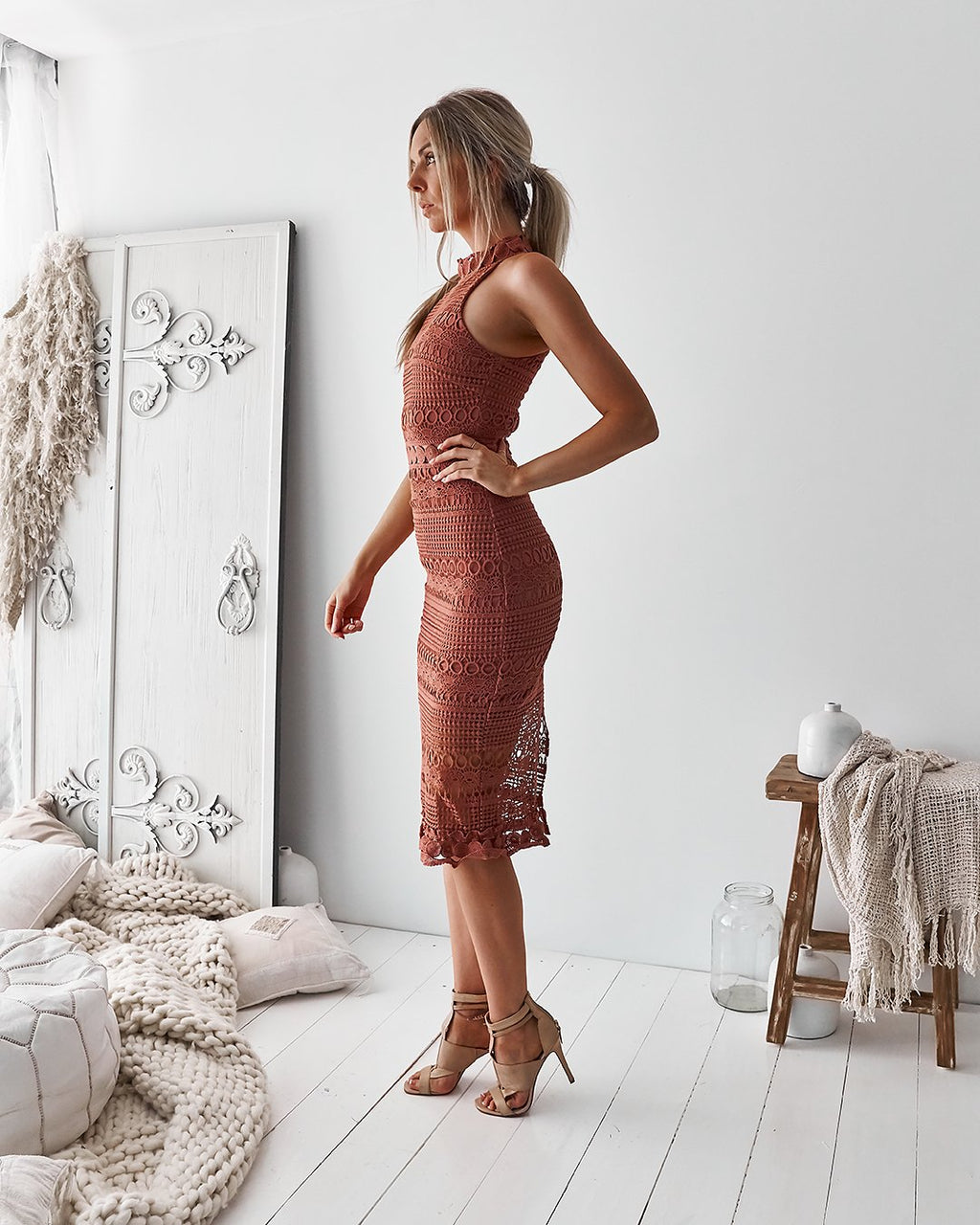 Rivers Midi Dress - Mauve