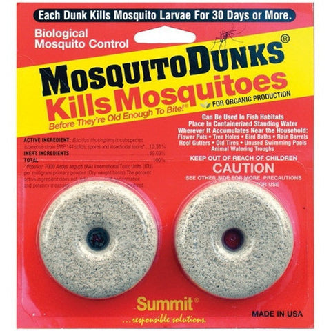 Mosquito Dunks Kills Mosquitoes before They're Old Enough to Bite! Lasts 30 days and treats 100 square feet of surface water, 2 pack - lagunapondsupplies.com