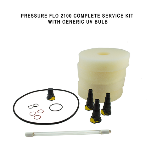 Generic Pressure Flo 2100 Complete Service Kit With UV Bulb, Connectors, Foam & O-rings
