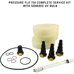 Generic Pressure Flo 700 Complete Service Kit With UV Bulb, Connectors, Foam & O-rings - lagunapondsupplies.com
