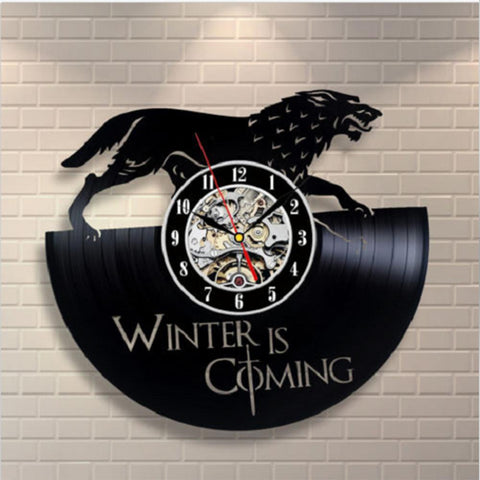 GOT- Winter is Coming - Retro Vinyl Wall Clock - Lamp