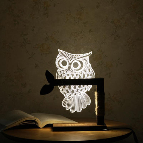Owl LED Nightlight with Wooden Stand - Lamp