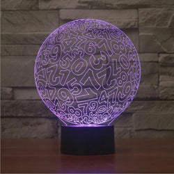 Digital Number Ball - 3D LED Lamp - Lamp