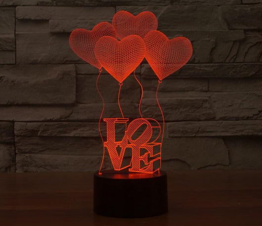 Four Love Hearts - 3D LED Lamp - Lamp