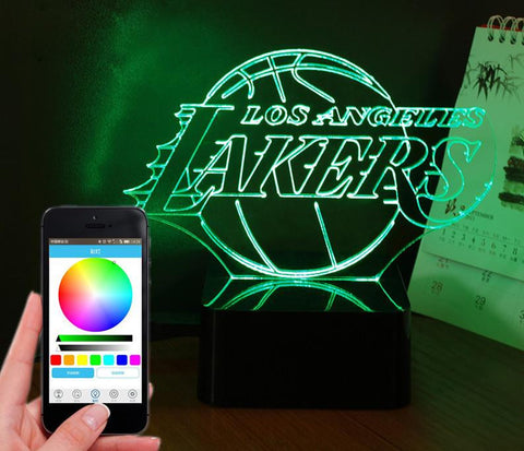 NBA Lakers - PREMIUM RANGE, BLUETOOTH APP TO CONTROL AND PLAY MUSIC - 3D LED LAMP - Lamp