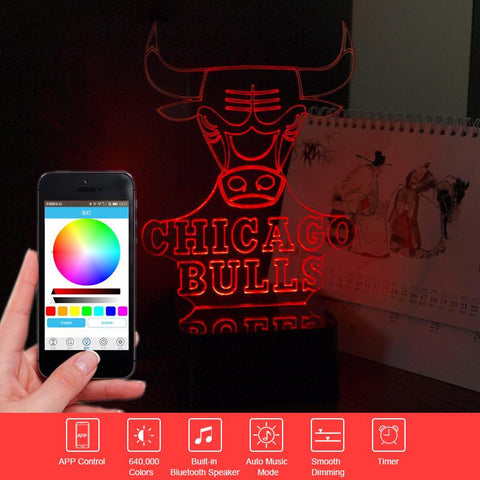 NBA Chicago Bulls - Premium Range, Bluetooth App to control and Play Music - 3D LED Lamp - Lamp