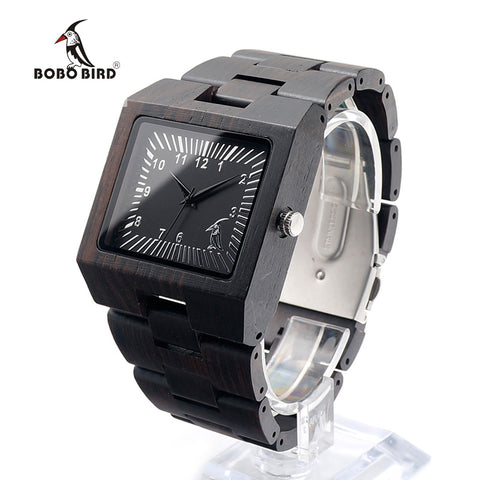 Black Sandal Wood Men Watch With Gift Box - Lamp