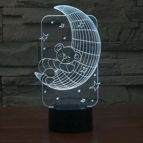 Cute Bear Hugging Moon - 3D LED Lamp - Lamp